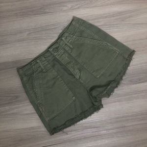 American Eagle button fly olive green shorts